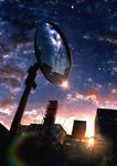 absurdres artist_name branch building cityscape cloud cloudy_sky commentary_request highres kumeki_(kk4615) leaf light light_rays milky_way mirror no_humans original outdoors post rainbow reflection scenery signature sky skyscraper star_(sky) starry_sky sun sunbeam sunlight sunset tree