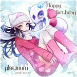 1girl 2018 black_hair boots closed_mouth coat dated floating_hair froslass gen_4_pokemon grey_eyes happy_birthday hat highres kneehighs long_hair long_sleeves looking_at_viewer miniskirt pink_footwear pink_skirt platinum_berlitz poke_ball_print pokemon pokemon_(creature) pokemon_special print_hat red_coat scarf shiny shiny_hair signature skirt solo white_headwear white_legwear white_scarf yuuki_(yuuk_yume)