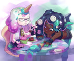 +_+ 2girls arm_support asymmetrical_hair bare_arms bare_shoulders bent_over black_hair breasts cake chair cherry cleavage closed_mouth commentary crown cupcake dark_skin domino_mask eyebrows fingerless_gloves food food_on_head fork fruit gloves green_eyes green_hair green_skin half-closed_eyes headphones hime_(splatoon) holding holding_fork holding_plate ice_cream ice_cream_cone iida_(splatoon) leg_up lips long_hair looking_at_another looking_up mask midriff mole mole_under_mouth multicolored multicolored_hair multicolored_skin multiple_girls object_on_head octarian one_leg_raised outstretched_arm pale_skin pantyhose_under_shorts pink_sclera plate short_hair shorts sitting sleeveless splatoon splatoon_2 squid stup-jam table tentacle_hair tripping vest white_hair yellow_eyes zipper zipper_pull_tab