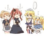 ... 4girls apron black_dress black_shirt blonde_hair blue_eyes blue_shirt breast_pocket breasts brown_hair cleavage closed_eyes collared_shirt commentary cowboy_shot crying crying_with_eyes_open dress fingerless_gloves gambier_bay_(kantai_collection) gloves hairband intrepid_(kantai_collection) iowa_(kantai_collection) kantai_collection large_breasts medium_breasts miniskirt mismatched_legwear multicolored multicolored_clothes multicolored_gloves multiple_girls neckerchief o_o open_mouth pocket ponytail rebecca_(keinelove) remodel_(kantai_collection) saratoga_(kantai_collection) shirt short_hair short_sleeves side_ponytail simple_background skirt smokestack spoken_ellipsis striped striped_legwear tears thighhighs translated twintails vertical-striped_legwear vertical_stripes white_background
