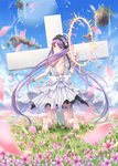 1girl bare_shoulders barefoot blue_sky blush cross day dress euryale fate/grand_order fate/hollow_ataraxia fate_(series) field flower flower_field gohei_(aoi_yuugure) hairband halo headdress highres jewelry kneeling lolita_hairband long_hair looking_at_viewer looking_back nature open_mouth outdoors petals purple_eyes purple_hair siblings sky sleeveless sleeveless_dress solo twintails very_long_hair white_dress