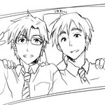 2boys arm_around_shoulder cornpotage00 glasses idolmaster idolmaster_(classic) idolmaster_million_live! male_focus multiple_boys necktie photo_(object) producer_(idolmaster_anime) producer_(idolmaster_million_live!_manga) simple_background v white_background