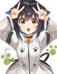 1girl animal_ears arms_up black_hair blush breasts brown_eyes cat_ears cat_tail choker double_v eyebrows_visible_through_hair highres kurokuro_illust looking_at_viewer medium_breasts open_mouth original paw_print short_hair solo tail uniform upper_body v white_background