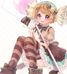 1girl blush breasts brown_hair brown_legwear candy candy_wrapper eyebrows_visible_through_hair food food_themed_clothes heart heart-shaped_pupils koizumi_hanayo komachi_pochi large_breasts lollipop looking_at_viewer love_live! love_live!_school_idol_festival love_live!_school_idol_project open_mouth oversized_object pinstripe_pattern puffy_short_sleeves puffy_sleeves purple_eyes short_hair short_sleeves sitting smile solo striped striped_legwear symbol-shaped_pupils thighhighs