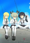 3girls anchovy anzio_school_uniform bangs belt black_belt black_footwear black_hair black_neckwear black_ribbon black_skirt blonde_hair blue_sky boots braid brown_eyes buchikaki carpaccio closed_eyes cloud cloudy_sky commentary_request day dress_shirt drill_hair emblem eyebrows_visible_through_hair fishing_rod girls_und_panzer green_eyes green_hair grimace hair_ribbon holding holding_fishing_rod indian_style loafers long_hair long_sleeves miniskirt multiple_girls necktie open_mouth outdoors pantyhose pepperoni_(girls_und_panzer) pier pleated_skirt red_eyes ribbon school_uniform shirt shoes short_hair side_braid sitting skirt sky smile starfish twin_drills twintails twitter_username white_legwear white_shirt