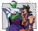 ! 2boys black_hair cape closed_eyes crossed_arms dougi dragon_ball dragon_ball_z fingernails frown grey_background hand_in_hair hand_on_hip height_difference kokusoji looking_at_another male_focus multiple_boys open_mouth piccolo pointy_ears serious shaded_face short_hair simple_background smile son_gokuu spiked_hair sweatdrop turban upper_body white_background wristband