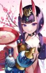 1girl alcohol bob_cut cherry_blossoms collarbone cup eyeshadow fangs fate/grand_order fate_(series) flower gourd japanese_clothes kimono looking_at_viewer makeup matsurika_youko oni oni_horns open_clothes open_kimono purple_eyes purple_hair purple_kimono revealing_clothes sakazuki sake short_eyebrows short_hair shuten_douji_(fate/grand_order)