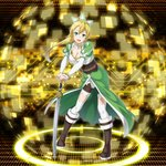 1girl :d absurdres blonde_hair boots bracelet breasts brown_footwear cape choker cleavage collarbone detached_sleeves floating_hair forest full_body green_cape green_eyes hands_on_hilt high_ponytail highres jewelry knee_boots large_breasts leafa leaning_forward long_hair nature open_mouth saber_(weapon) shorts smile solo standing sword sword_art_online thighhighs waist_cape weapon white_legwear white_shorts