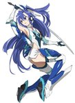 1girl bangs blue_eyes blue_hair blue_legwear boots commentary_request elbow_gloves floating full_body gloves greaves headgear highres holding holding_sword holding_weapon ikezawa_shin kazanari_tsubasa leotard long_hair looking_to_the_side magical_girl one_side_up parted_lips senki_zesshou_symphogear side_cutout simple_background solo sword thigh_boots thighhighs very_long_hair weapon white_background white_gloves white_leotard