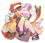 1girl absurdres ankle_boots bangs blue_eyes bomssp boots brown_footwear brown_gloves brown_hair brown_jumpsuit cape chromatic_aberration chu_chu_(xenogears) crossed_bangs fingerless_gloves full_body gloves hair_between_eyes hat heart highres long_sleeves marguerite_fatima orange_cape orange_headwear pigeon-toed short_hair short_jumpsuit xenogears