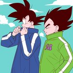 2boys =3 adjusting_clothes adjusting_collar black_eyes black_hair blue_coat blue_sky breath cloud cloudy_sky coat commentary_request covering covering_mouth day dragon_ball dragon_ball_super_broly expressionless fingernails frown green_coat hand_in_pocket light_smile looking_away looking_down male_focus multiple_boys outdoors pesogin profile sky smile son_gokuu spiked_hair standing steam upper_body vegeta winter winter_clothes winter_coat