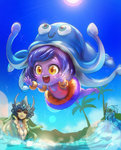 1boy 2girls alternate_skin_color animal_hat arms barefoot black_sclera blue_skin chibi floaties gem goo_guy hat headpiece highres innertube jumping league_of_legends lens_flare lulu_(league_of_legends) meme mermaid monster_boy monster_girl multiple_girls nami_(league_of_legends) ocean open_mouth outstretched_arms palm_tree phantom_ix_row purple_hair purple_skin red_eyes signature snorkel squid_hat swimsuit tree yellow_eyes zac