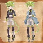 1boy animal_ears cat_ears cat_tail catboy character_sheet eyes_visible_through_hair green_hair looking_at_viewer looking_away male_focus neck_ribbon nemui_lazurite original pinstripe_pattern pinstripe_shirt ribbon solo striped suspenders tail tail_ribbon yellow_eyes