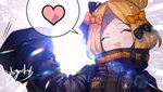 1girl :d ^_^ abigail_williams_(fate/grand_order) backlighting bangs black_bow black_jacket blonde_hair blush bow closed_eyes commentary_request crossed_bandaids eyebrows_visible_through_hair facing_viewer fate/grand_order fate_(series) hair_bow hair_bun heart heroic_spirit_traveling_outfit jacket long_hair long_sleeves nichigeckoh open_mouth orange_bow parted_bangs signature sleeves_past_fingers sleeves_past_wrists smile solo spoken_heart upper_body