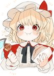 1girl :i alternate_costume bangs black_neckwear black_ribbon blonde_hair blush bow commentary_request cropped_torso crystal flandre_scarlet food gotoh510 hat hat_bow highres holding holding_food long_hair looking_at_viewer mob_cap neck_ribbon one_side_up red_bow red_eyes ribbon simple_background solo takoyaki touhou translated upper_body white_background white_hat wings wrist_cuffs