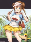 1girl :d aymusk bag bangs blue_shirt blush bra_strap breasts closed_mouth commentary_request contrapposto dress gen_5_pokemon highres holding holding_poke_ball impossible_clothes impossible_shirt large_breasts long_hair looking_at_viewer mei_(pokemon) miniskirt no_legwear open_mouth outside_border plant pleated_skirt poke_ball poke_ball_(generic) poke_ball_print pokemon pokemon_(creature) pokemon_(game) pokemon_bw2 print_shirt raglan_sleeves red_eyes shirt short_sleeves shoulder_bag sidelocks skirt smile smug snivy standing tareme twintails visor_cap white_headwear white_shirt yellow_skirt