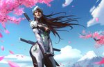 1girl armor bangs blue_sky breasts brown_eyes brown_hair cherry_blossoms cloud cowboy_shot cyborg day forehead_protector from_below genderswap genderswap_(mtf) genji_(overwatch) helmet highres katana light_smile long_hair looking_to_the_side medium_breasts mount_fuji mountain nose outdoors overwatch pants parted_lips power_armor qichao_wang realistic red_lips sheath sheathed sky solo sword tree_branch weapon