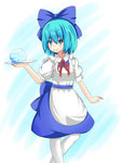 1girl apron blue_background blue_eyes blue_hair cirno dress gradient gradient_background hair_ribbon ice looking_at_viewer pantyhose puffy_short_sleeves puffy_sleeves ribbon rurikitsune short_hair short_sleeves simple_background smile solo touhou tray waitress white_legwear