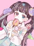 +_- 1girl bangs black_hair blue_eyes blunt_bangs blush candy eyebrows_visible_through_hair food hanataro_(sruvhqkehy1zied) heterochromia lollipop long_hair long_sleeves looking_at_viewer mahou_shoujo_ikusei_keikaku mahou_shoujo_ikusei_keikaku_aces nakano_sorami paws pink_background red_eyes sailor_collar shirt simple_background solo strap_slip striped striped_neckwear twintails upper_body white_sailor_collar white_sleeves