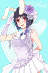 1girl alternate_costume animal_ears arm_behind_back bangs bare_shoulders black_hair blue_background blush bob_cut bow breasts bunny_ears chiester556 dress english flower frills fysr gloves hair_flower hair_ornament heart looking_at_viewer medium_breasts open_mouth pleated_dress purple_flower purple_rose red_eyes rose salute short_hair sleeveless smile solo umineko_no_naku_koro_ni white_gloves