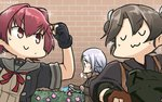 3girls :3 >:3 >:> blue_eyes blush braid brick_wall bush clenched_hands closed_eyes coat commentary eyebrows_visible_through_hair fingerless_gloves flower from_side gloves green_hair hakama hamu_koutarou highres hose jacket japanese_clothes kantai_collection kinu_(kantai_collection) long_hair long_sleeves looking_at_another multiple_girls neck_ribbon onmyouji outdoors pink_hair red_ribbon remodel_(kantai_collection) ribbon school_uniform serafuku short_hair silver_hair single_braid sparkle sweat twintails umikaze_(kantai_collection) upper_body water watering winter_clothes winter_coat zui_zui_dance zuikaku_(kantai_collection)