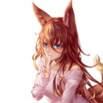 1girl animal_ear_fluff animal_ears bangs blue_eyes blush breasts collarbone commentary_request eyebrows_visible_through_hair fox_ears fox_girl fox_tail hair_between_eyes highres long_hair long_sleeves looking_at_viewer mole mole_under_eye off-shoulder_sweater off_shoulder open_mouth orange_hair original pink_sweater simple_background smile solo sweater tail upper_body v white_background yuzuriha_(pixiv_14248010)