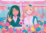 2girls :d ;q absurdres against_glass arcade backpack bag bangs black_hair blonde_hair cameo capsule collared_shirt crane_game dark_skin figure food fruit gashapon hair_ornament hairclip hands_up hatsune_miku highres indoors jacket kirby kirby_(series) long_hair mole mole_under_mouth multicolored_hair multiple_girls one_eye_closed open_mouth orange orange_slice original pink_eyes popped_collar routexx shirt short_hair short_sleeves smile strawberry stuffed_animal stuffed_cat stuffed_toy swept_bangs tongue tongue_out two-tone_hair upper_body vocaloid white_shirt yellow_eyes