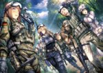 3boys 5girls adjusting_goggles alternate_costume amane_suzuha assault_rifle baseball_cap belt between_breasts black_hair blonde_hair boots bottle braid breasts brown_hair camouflage cellphone closed_eyes cloud cloudy_sky day fang faris_nyannyan fingerless_gloves flip_phone g36 german_flag glasses gloves goggles goggles_on_head gun hand_on_another's_shoulder hashida_itaru hat highres hiroe_rei kiryuu_moeka laughing leather leather_gloves light_brown_hair long_hair makise_kurisu medic military military_uniform multiple_boys multiple_girls okabe_rintarou open_mouth phone pink_hair purple_eyes red_cross rifle semi-rimless_glasses shiina_mayuri short_hair sky smile steins;gate strap_cleavage sweatdrop tree turtleneck twin_braids uniform urushibara_ruka water_bottle weapon yellow_eyes