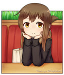 1girl blush brown_eyes brown_hair chin_rest closed_mouth eyebrows_visible_through_hair hands_on_own_head inazuma_(kantai_collection) jacy kantai_collection long_sleeves looking_at_viewer medium_hair pov_across_table sitting smile solo sweater