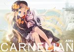2girls abigail_williams_(fate/grand_order) ankle_bow ankle_ribbon artist_name bags_under_eyes black_bow black_footwear black_hat blonde_hair blue_eyes bow carnelian cliff commentary_request fate/grand_order fate_(series) floating_hair grass hair_bow hat holding_hands lavinia_whateley_(fate/grand_order) leaning_on_person light_smile lighthouse long_hair looking_at_another multiple_girls no_socks orange_bow outdoors pale_skin red_eyes red_footwear ribbon shoes side-by-side smile very_long_hair water white_bloomers white_hair wind yuri