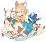 1girl :3 animal_ears belt blonde_hair blue_eyes blue_hair blush braid cape closed_eyes closed_mouth dress facial_hair felyne green_eyes hat hood long_hair lying maruco meowstress monster_hunter monster_hunter_x moofah mustache on_stomach paw_print petting pointy_ears simple_background sitting twin_braids whiskers white_background