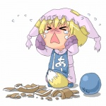 1girl :< >_< a abekawa ball between_legs blonde_hair broken chibi closed_eyes clothes_writing crying expressive_clothes fox_tail hat long_sleeves lowres open_mouth pillow_hat short_hair solo tail tail_between_legs tassel tears touhou translated white_background wide_sleeves yakumo_ran younger