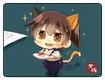 1girl animal_ears apple_bunny artist_name blue_hakama blush brown_eyes brown_hair cat_ears cat_tail chibi commentary_request eyebrows_visible_through_hair from_above hakama hakama_skirt japanese_clothes kaga_(kantai_collection) kantai_collection kemonomimi_mode looking_at_viewer minigirl motion_lines open_mouth plate shadow side_ponytail smile solo sparkle sparkling_eyes tail taisa_(kari)