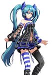 1girl alternate_eye_color asymmetrical_gloves asymmetrical_legwear black_footwear black_gloves black_legwear blue_eyes blue_hair blue_skirt boots breasts choker cleavage closed_mouth commentary detached_sleeves fingerless_gloves floating_hair frilled_skirt frills gloves hair_ornament hatsune_miku heterochromia highres knee_boots long_hair medium_breasts midriff miniskirt navel plaid plaid_skirt project_diva_(series) red_eyes shiny shiny_hair sideboob simple_background single_glove skirt smile solo standing stomach striped striped_legwear thighhighs tsukishiro_saika very_long_hair vocaloid white_background