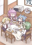 4girls ^_^ animal_ears antennae blonde_hair blue_hair cake cape cirno closed_eyes dress eating food food_on_face fork green_hair hair_ribbon hat highres knife microwave multiple_girls mystia_lorelei purple_hair ribbon rice_cooker rumia shirt short_hair shorts skirt takanoru team_9 touhou turn_pale vest wavy_mouth wriggle_nightbug