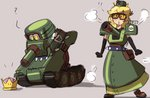 1girl :o armor armored_dress black_gloves blonde_hair brown_footwear cannon elbow_gloves gloves goggles ground_vehicle jsketch12 looking_at_viewer mario_(series) military military_vehicle motor_vehicle multiple_views new_super_mario_bros._u_deluxe personification pouch sherm_(mario) shoulder_armor spiked_belt standing super_mario_odyssey tank transformation