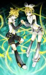 1boy 1girl akazaki_(sxlan) arm_warmers bad_id bad_pixiv_id bass_clef blonde_hair blue_eyes bow earphones fringe hair_bow hair_ornament hairpin highres holding_hands kagamine_len kagamine_len_(append) kagamine_rin kagamine_rin_(append) leg_warmers navel ponytail popped_collar short_hair short_shorts shorts sleeveless smile treble_clef vocaloid vocaloid_append