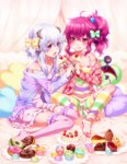 2girls :q ahoge barefoot blush bow breasts cake cheesecake cleavage cupcake demon_girl demon_tail demon_wings doily doughnut eyeball food food_on_face fork frilled_legwear fruit garters hair_bobbles hair_bow hair_ornament heart hizuki_akira horns lavender_hair leg_warmers licking_lips long_hair loungewear macaron multicolored multicolored_hair_bobbles multicolored_stripes multiple_girls nail_polish open_mouth original pink_hair pink_legwear pointy_ears polka_dot polka_dot_hoodie polka_dot_legwear ponytail purple_eyes purple_legwear red_nails short_hair_with_long_locks shorts sitting slice_of_cake small_breasts smile sprinkles strap_slip strawberry strawberry_shortcake striped striped_legwear swiss_roll tail thighhighs tongue tongue_out wariza wings