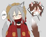 =_= ahoge animal_ear_fluff animal_ears arknights blank_eyes blush blush_stickers braid brown_hair cat_ears cat_tail chibi closed_eyes coat crown_braid deathalice doctor_(arknights) english_text female_doctor_(arknights) fur-trimmed_hood gas_mask grey_background grey_hair hair_between_eyes happy hooded_coat long_hair looking_at_viewer mask_around_neck projekt_red_(arknights) red_coat shouting simple_background speech_bubble spoken_expression tail tail_raised tears trembling upper_body wolf_ears wolf_tail yuri