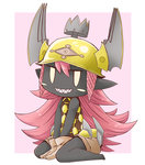 1girl between_legs black_skin blush_stickers brown_gloves chibi final_fantasy gloves hand_between_legs helmet looking_at_viewer monster_girl pink_hair pointy_ears princess_goblin_(world_of_final_fantasy) sharp_teeth sitting solo teeth world_of_final_fantasy yanbee