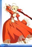 1girl absurdres aestus_estus ahoge arm_up ass back_cutout bangs blonde_hair braid breasts butt_crack detached_sleeves dress epaulettes eyebrows_visible_through_hair fate/extra fate_(series) from_behind green_eyes hair_intakes hair_ribbon highres holding holding_sword holding_weapon long_sleeves looking_at_viewer looking_back medium_breasts nero_claudius_(fate) nero_claudius_(fate)_(all) open_mouth page_number puffy_sleeves red_dress ribbon scan simple_background smile solo sword wada_aruko weapon white_background