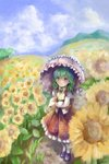 1girl artist_name bangs blue_sky brown_footwear cloud cravat day flower frilled_skirt frills from_above full_body garden_of_the_sun green_hair hair_between_eyes highres hill holding holding_umbrella kazami_yuuka loafers long_sleeves looking_away looking_up mountain nagayo open_clothes open_vest outdoors pantyhose plaid plaid_skirt plaid_vest red_eyes shirt shoes short_hair skirt sky smile solo standing summer sunflower touhou umbrella untucked_shirt vest white_legwear white_shirt yellow_neckwear