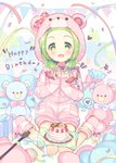 1girl :d animal_ears bear_ears bear_hood birthday_cake blush bow box cake character_name commentary_request confetti cuffs drawstring fake_animal_ears fingernails food forehead full_body gift gift_bag gift_box green_eyes green_hair handcuffs hands_up happy_birthday heart highres hood hood_up hooded_jacket jacket keyhole long_sleeves meito_(maze) morinaka_kazaki nijisanji open_mouth pennant pink_jacket pink_legwear pink_shorts polka_dot polka_dot_bow red_bow short_shorts shorts sitting sleeves_past_wrists smile socks solo sparkle streamers string_of_flags striped striped_jacket striped_legwear stuffed_animal stuffed_toy teddy_bear virtual_youtuber wariza white_background