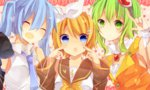 3girls :d ^_^ blonde_hair blue_eyes blue_hair closed_eyes detached_sleeves goggles goggles_on_head green_eyes green_hair gumi hair_ornament hairband hairclip hatsune_miku kagamine_rin long_hair looking_at_viewer multiple_girls necktie open_mouth short_hair smile twintails vocaloid yuruno