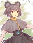 1girl alder animal_ears blush eyebrows_visible_through_hair grey_hair long_sleeves looking_at_viewer mouse_ears nazrin open_mouth red_eyes short_hair sketch smile solo touhou