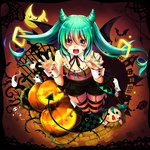 1girl absurdres bangs blue_hair blue_nails claw_pose demon_girl eyebrows_visible_through_hair fingernails ghost hachune_miku halloween halloween_costume hands_up hatsune_miku highres horns jack-o'-lantern maronie. nail_polish open_mouth red_eyes sharp_fingernails solo vocaloid