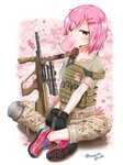 1girl assault_rifle bubble_blowing bullpup camouflage chewing_gum earpiece gloves gun hair_ornament hairclip handgun highres holding holding_gun holding_weapon indian_style looking_at_viewer original pink_hair pistol plate_carrier red_eyes rifle sekino_takehiro shoes short_hair sitting sneakers solo steyr_aug weapon