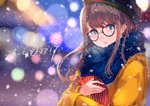 1girl black-framed_eyewear black_headwear blue_eyes blue_scarf blurry bokeh brown_hair dated depth_of_field glasses happy_valentine long_hair long_sleeves looking_at_viewer original parted_lips scarf sidelocks snowing solo sone_(takahiro-osone) striped upper_body valentine winter winter_clothes yellow_coat