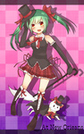 1girl aqua_hair bare_shoulders boots bow bowtie cane cat elbow_gloves fang gloves hair_bow hair_ribbon hat hatsune_miku highres long_hair open_mouth plaid red_eyes ribbon skirt smile solo top_hat tosura-ayato twintails vocaloid