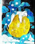 androgynous black_footwear closed_eyes cloud commentary crater full_body full_moon highres hood hoodie lying maruti_bitamin moon on_stomach original pants profile shoes short_hair solo star traditional_media watercolor_(medium) white_hair white_hoodie white_pants yellow_moon